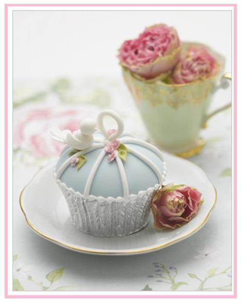 cupcake on vintage plate