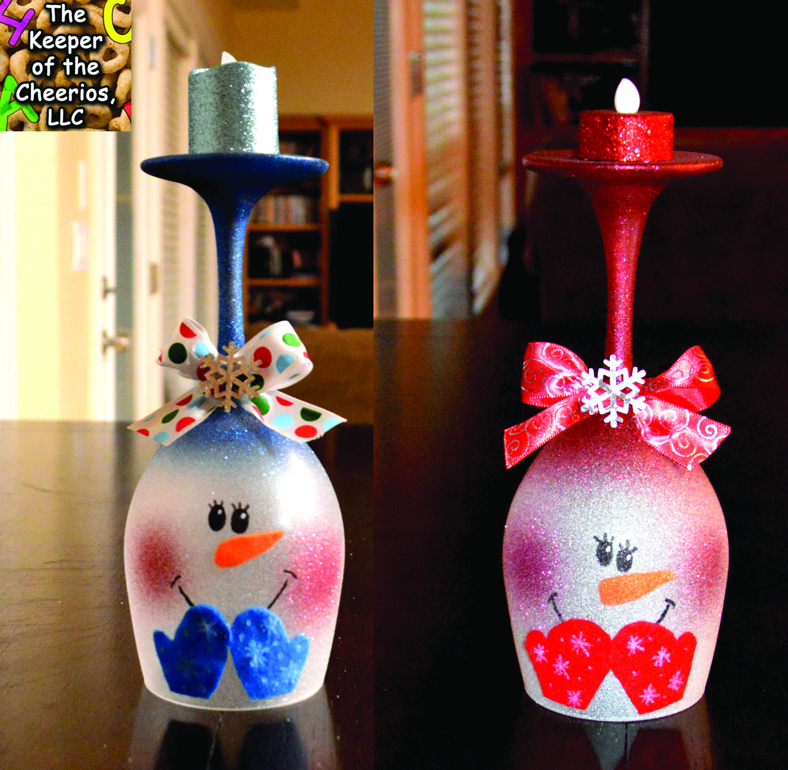 Snowman wine glass candle holder for Christmas candle displays