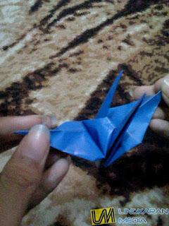 cara membuat origami burung LM 16