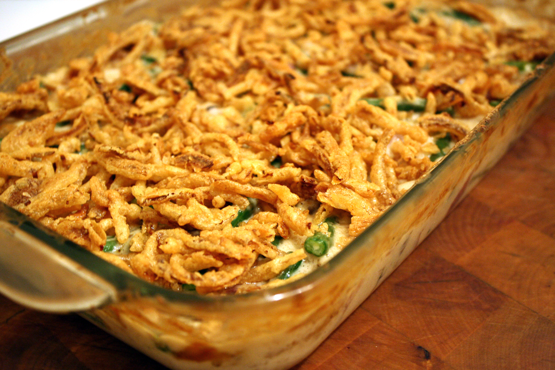 green bean casserole with mushroom bechamel crispy onions green bean ...