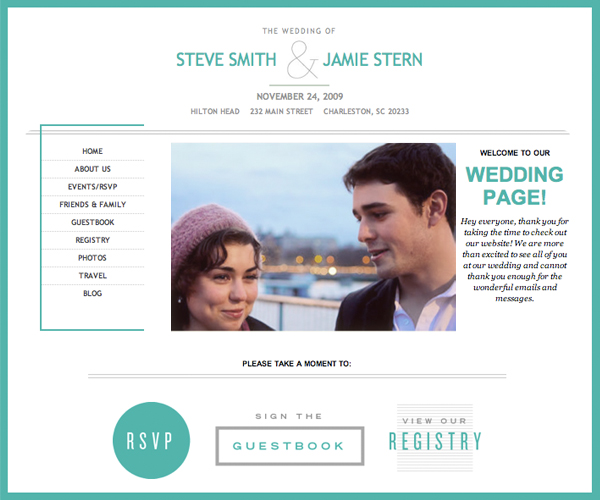 Share your love story with the perfect custom wedding site