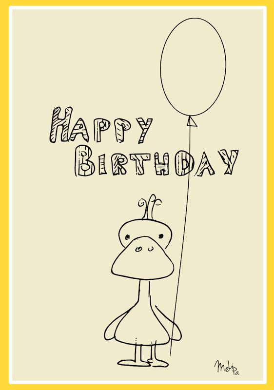duck with balloons happy birthday card