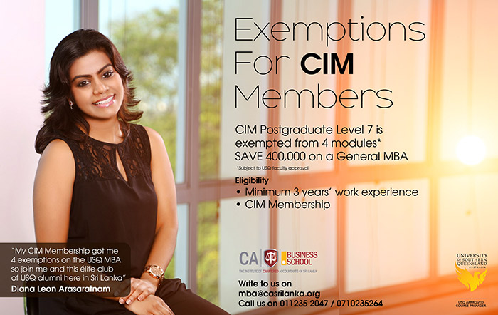 The CA Sri Lanka Business School was established over ten years ago with a mission to deliver a relevant and innovative curriculum in a supportive learning environment, thereby developing business leaders who create, transform and sustain successful organizations.  The CA Business School offers a range of courses relevant to professionals in accounting and finance apart from two world renowned post graduate degree courses which are offered in collaboration with the University of Southern Queensland, Australia(USQ).