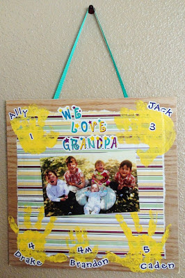 We Love Grandpa Photo Handprint Plaque