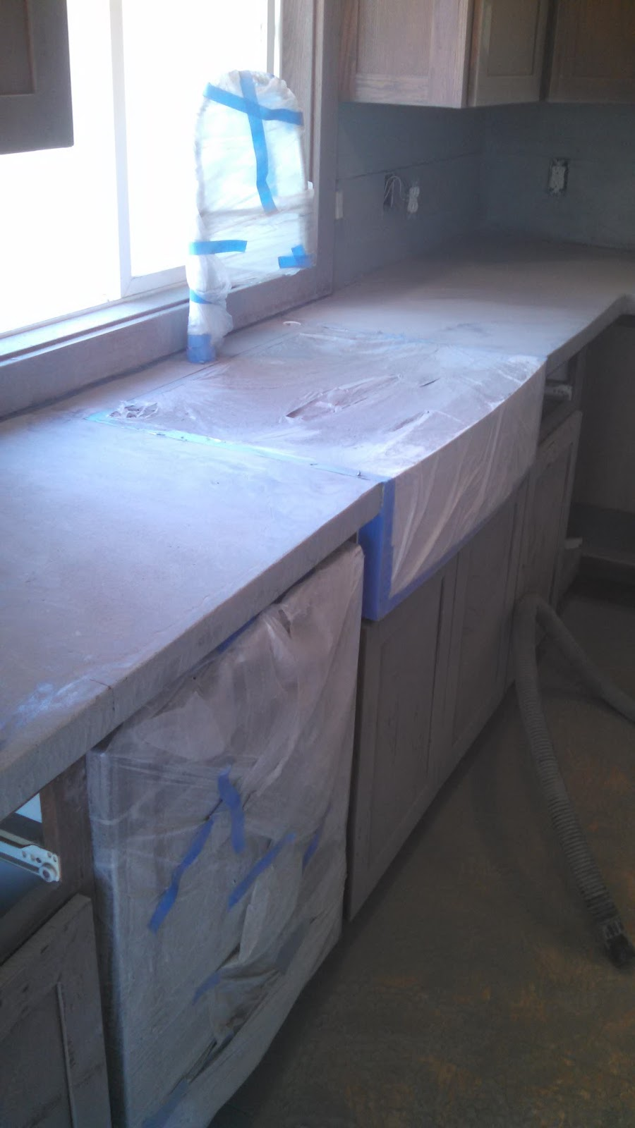 fixing the counters - grinding and polishing