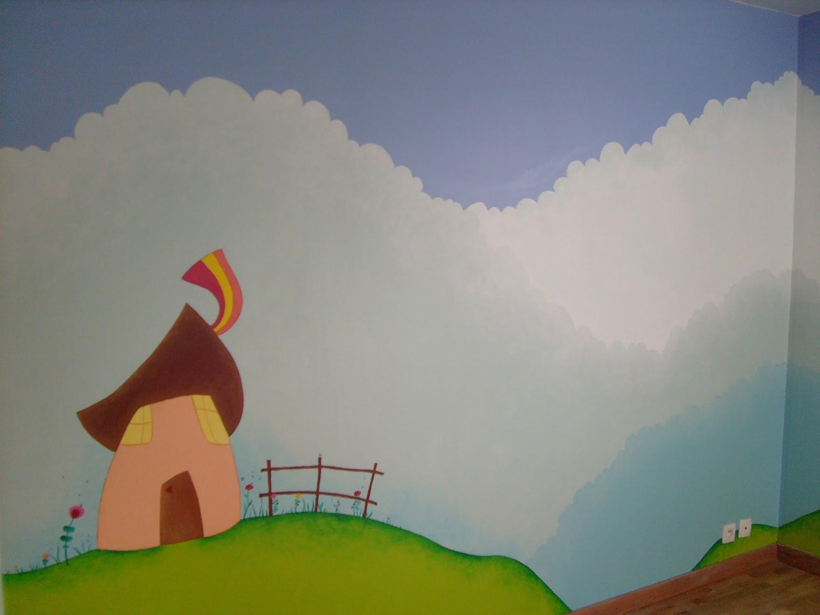 S verine peugniez cr ations fresques murales pour chambre for Peinture acrylique maison