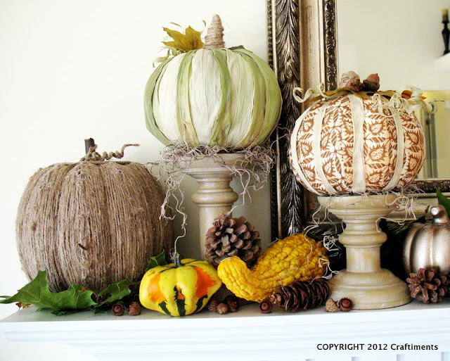 Craftiments:  Twine, corn husk, and fabric covered foam pumpkins