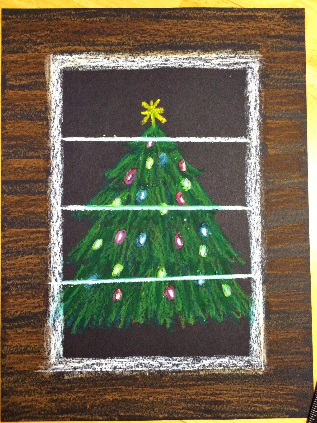 Kathy S Angelnik Designs Art Project Ideas Oil Pastel Christmas