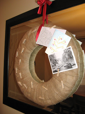 Burlap Wreath Christmas Card Holder