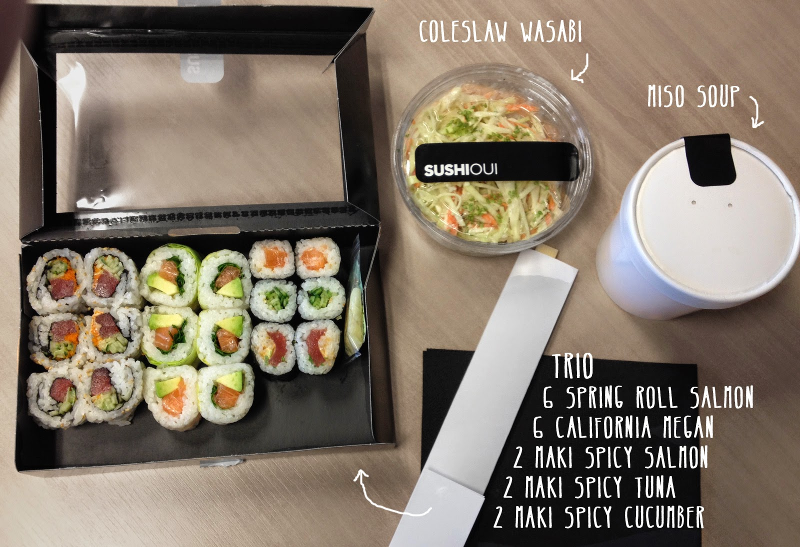 sushi oui - lunch menu