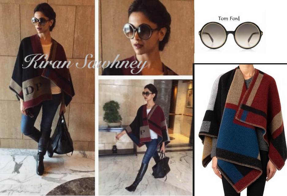 Deepika Padukone in Delhi wearing Burberry cape