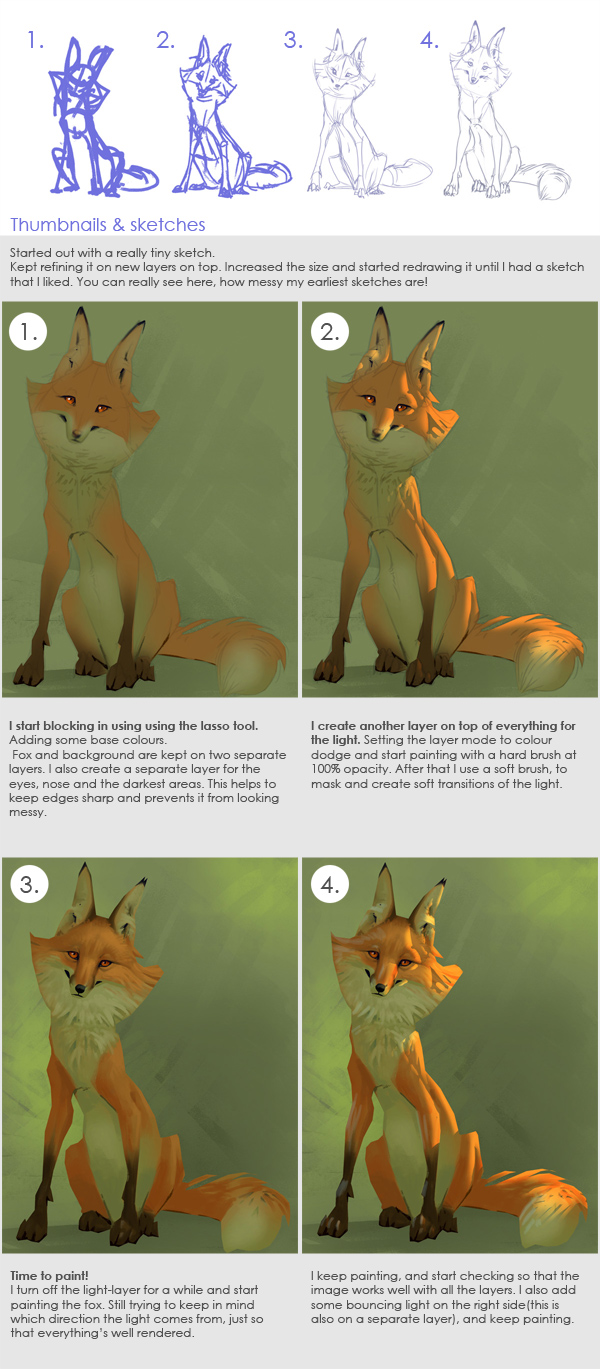 fox painting tutorial in photoshop