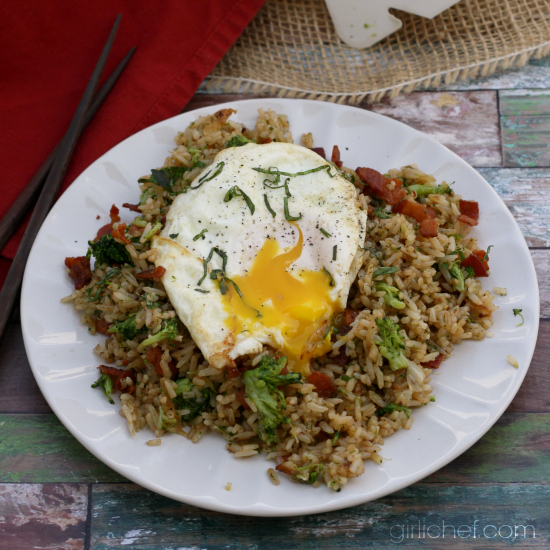 Bacon, Broccoli, and Garlic Fried Rice | All Roads Lead to the Kitchen