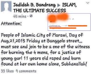 Marawi rape and murder suspects burning