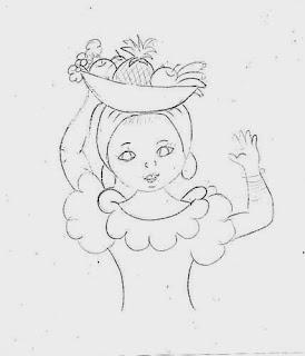 risco boneca baiana com tabuleiro de frutas