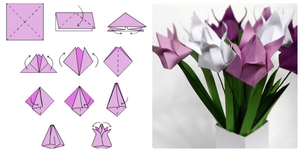 Сложить цветок из бумаги
