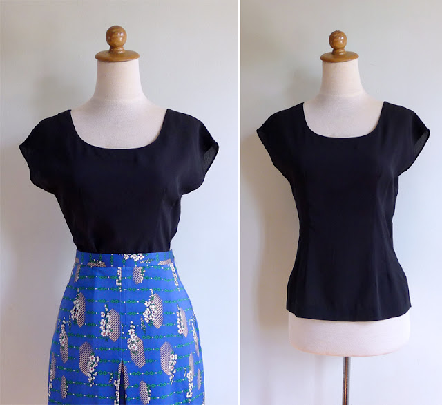 vintage 80's basic black blouse top