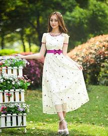 Short Sleeve Purple Waist Bow Rose Embroidery Mid Calf Length Dress