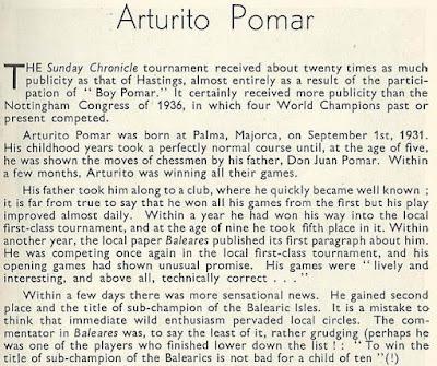 Nota sobre Arturito Pomar en el libro del Torneo de Ajedrez de Londres 1946 (1)