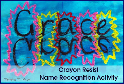Crayon Resist Name Recognition Activity