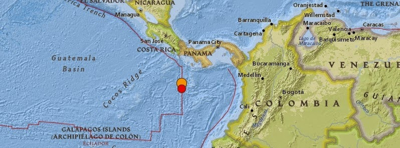 Epicentro sismo 6,6 grados en el Pacífico de Panamá, 7 de Enero 2015