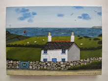 sophie harding - white cottage, blue gate and red sails