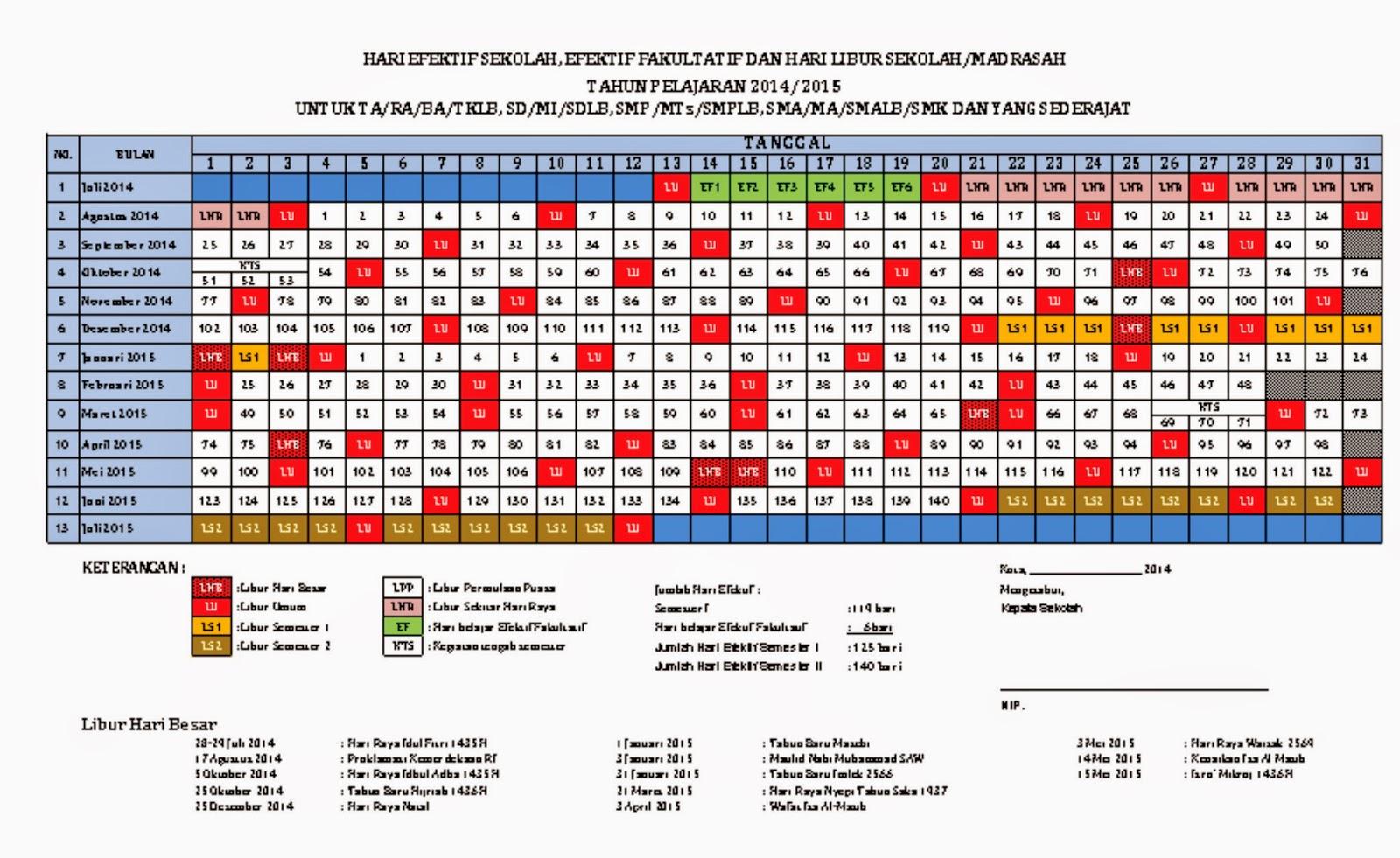 Hari efektif sekolah efektif fakultatif dan hari libur sekolah tahun pelajaran 2014 2015