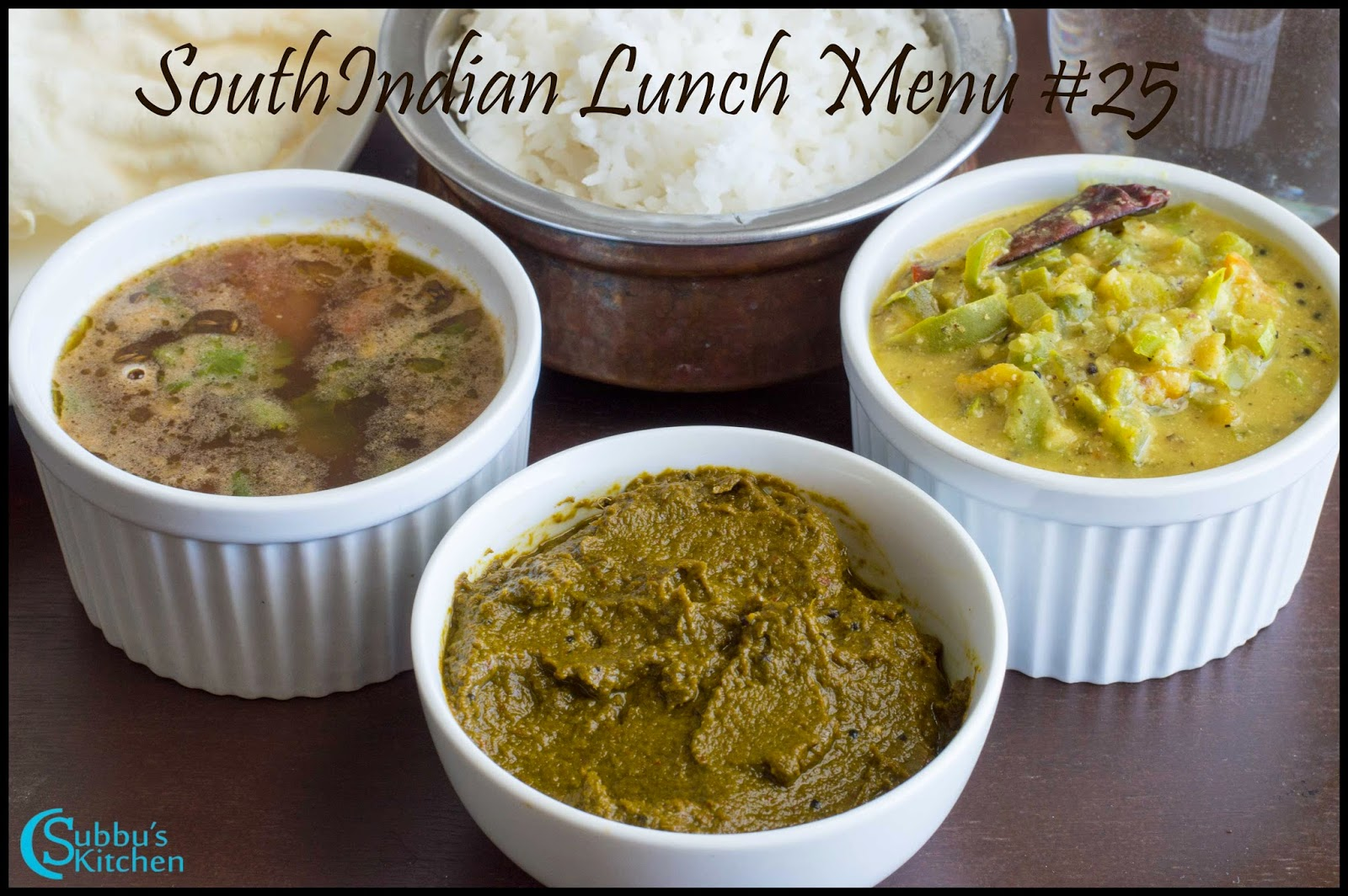 South Indian Lunch Menu 25 - Coriander Leaves Thokku, Capsicum Kootu, Mysore Rasam, Curd, Papad and Rice