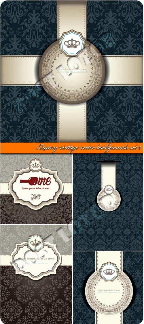Luxury vintage vector backgrounds set 02