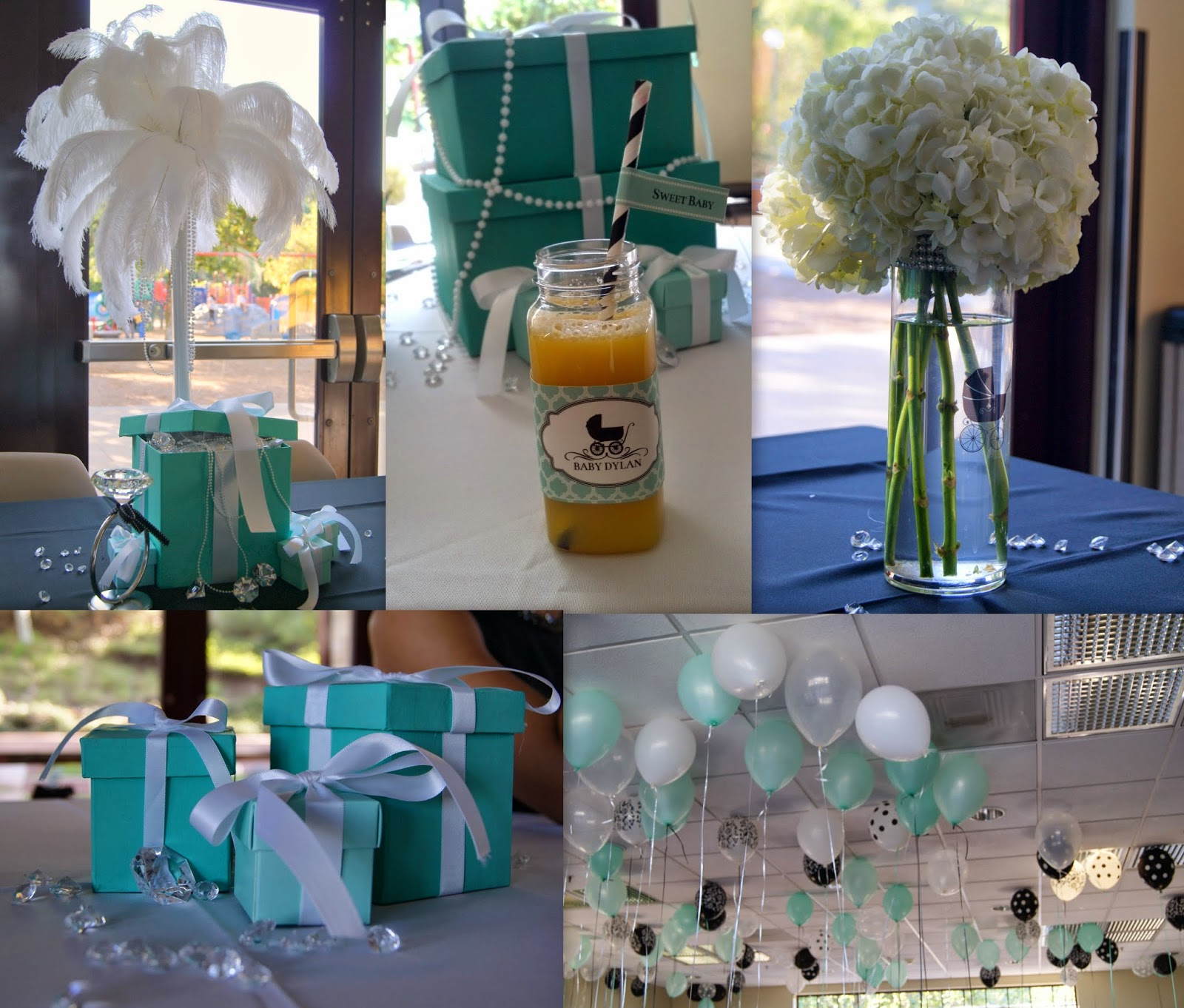 breakfast at tiffany's party, tiffany box centerpieces, feather centerpieces, balloon ceiling, allthingssllim