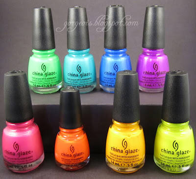 China Glaze Kiwi Cool-ada, Turned Up Turquoise, Splish Splash, Beach Cruise-r, Love's a Beach, Orange Knockout, Sun Worshipper, Sun-Kissed