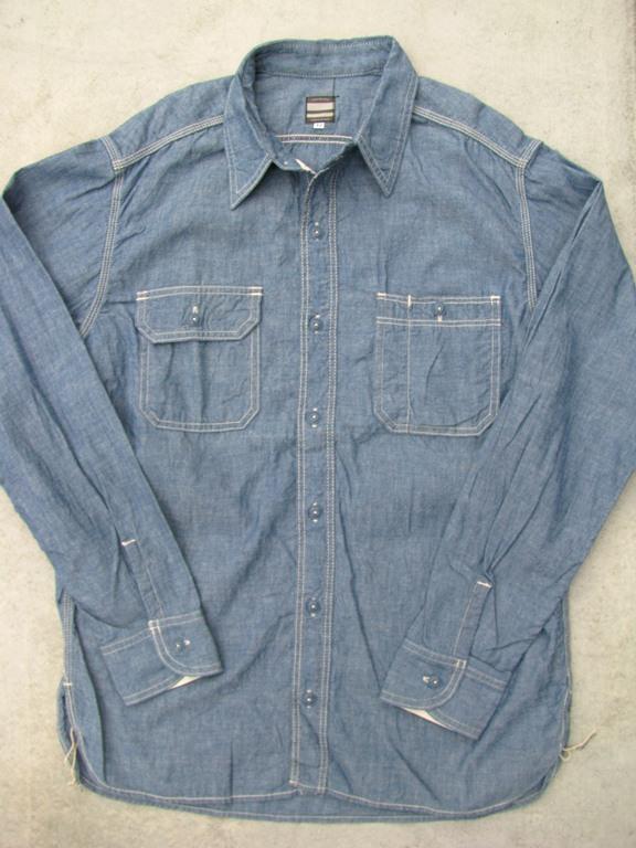 Momotaro 5oz selvedge chambray work shirts model ms033 for 100 cotton work shirts