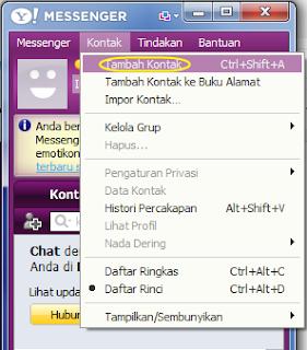 cara menambah add kontak teman yahoo mesengger (YM)