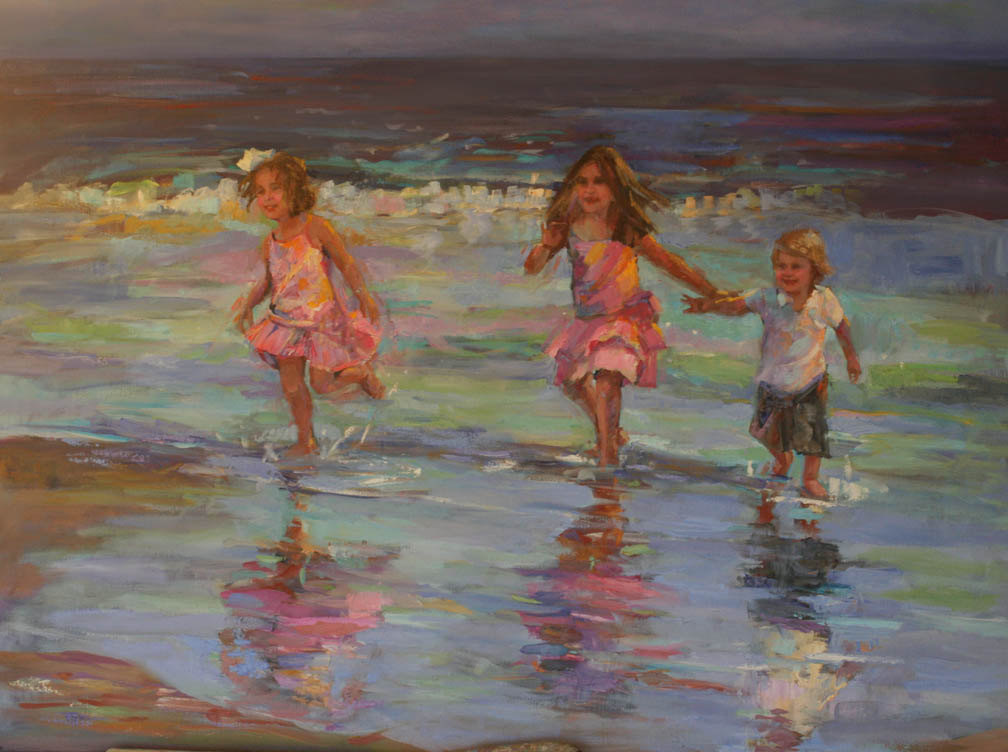 DETAIL OF KIDS RUNNING ON THE BEACH BY ELIZABETH BLAYLOCK