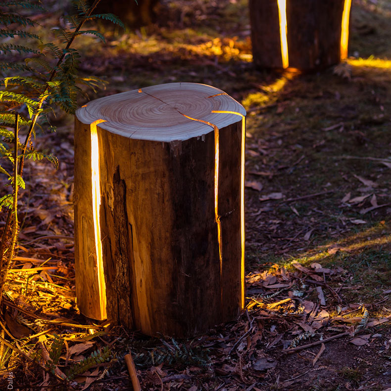 Lámparas que lucen como troncos agrietados por Duncan Meerding