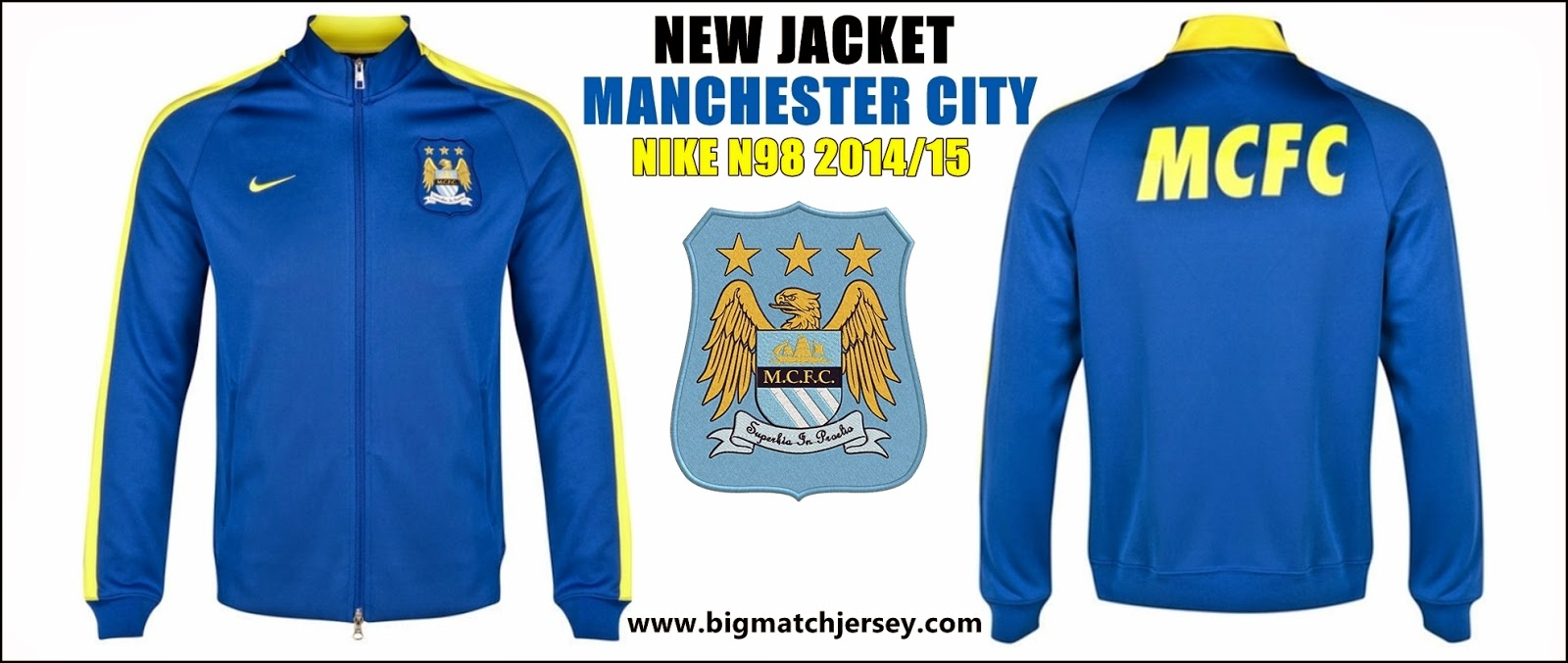 NEW MANCHESTER CITY AUTHENTIC N98 JACKET TRAINING ROYAL BLUE 2015