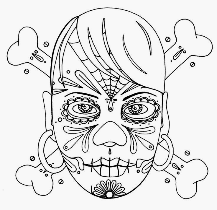 Girl face day of the dead with bones tattoo stencil