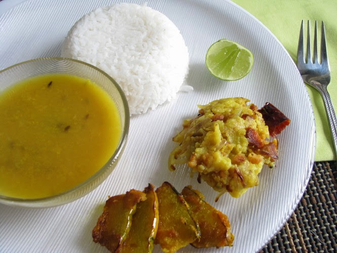 a light meal of dal, rice,kumro bhaja and bhaja aloo bhate