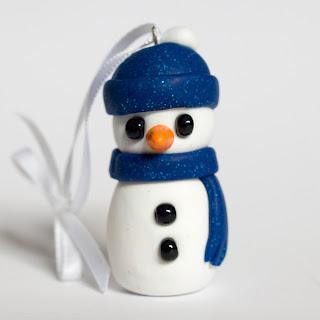 Blue hat fimo snowman