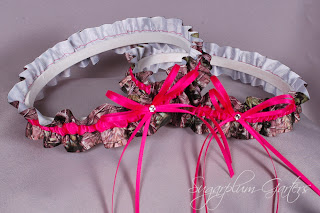 Wedding Garter Set in Hot Pink & Realtree Camouflage Grosgrain with Swarovski Crystals by Sugarplum Garters
