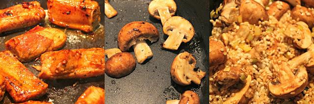 Arroz con costillas y champiñón portobello