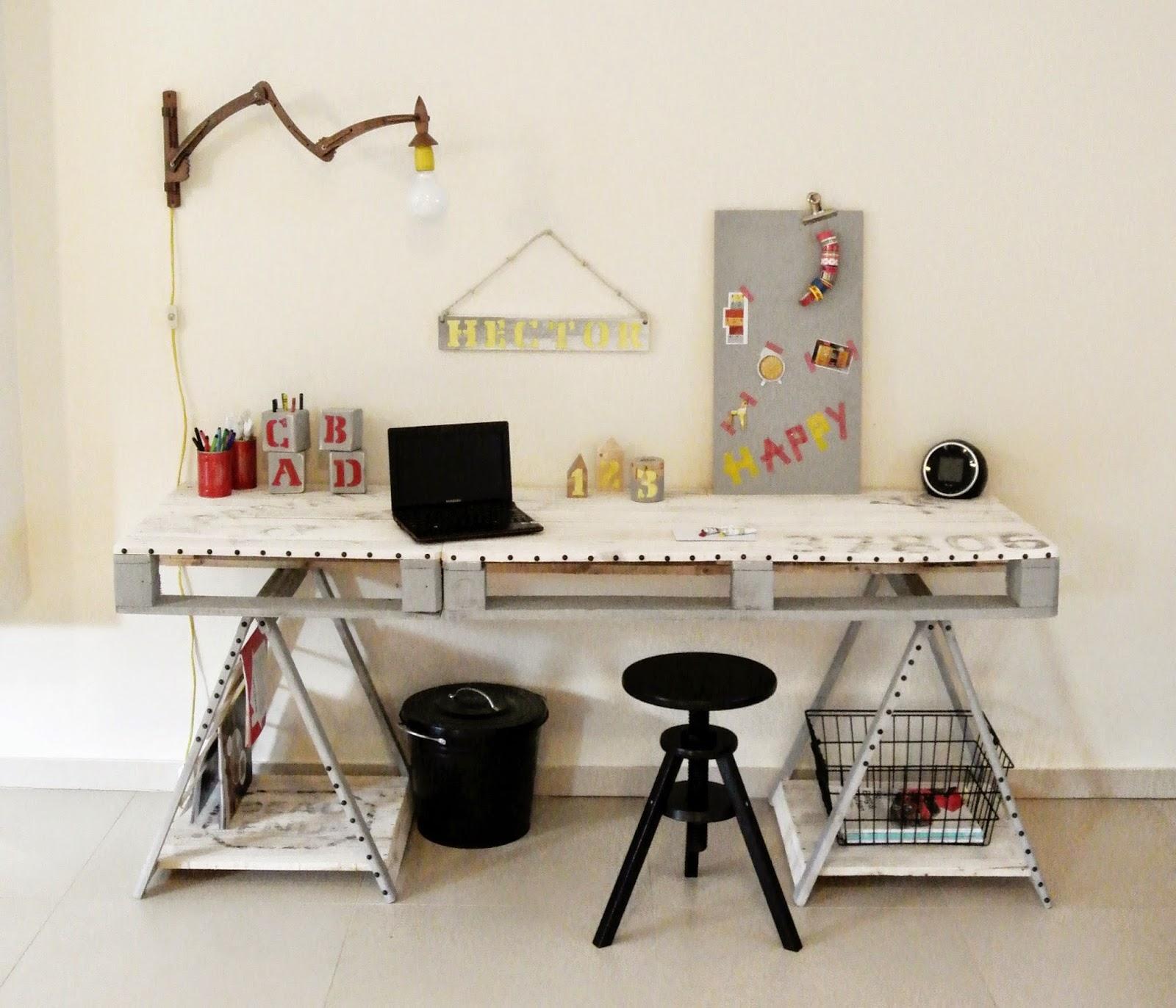 industrialne biurko,biurko z palet DIY,jak zrobić biurko z palet,meble z palet,blog DIY,ponowne wykorzystanie palet,młodzieżowe biurko z palet,transfer na drewnie,styl loft,biurko industrialne,blog wnętrzarski