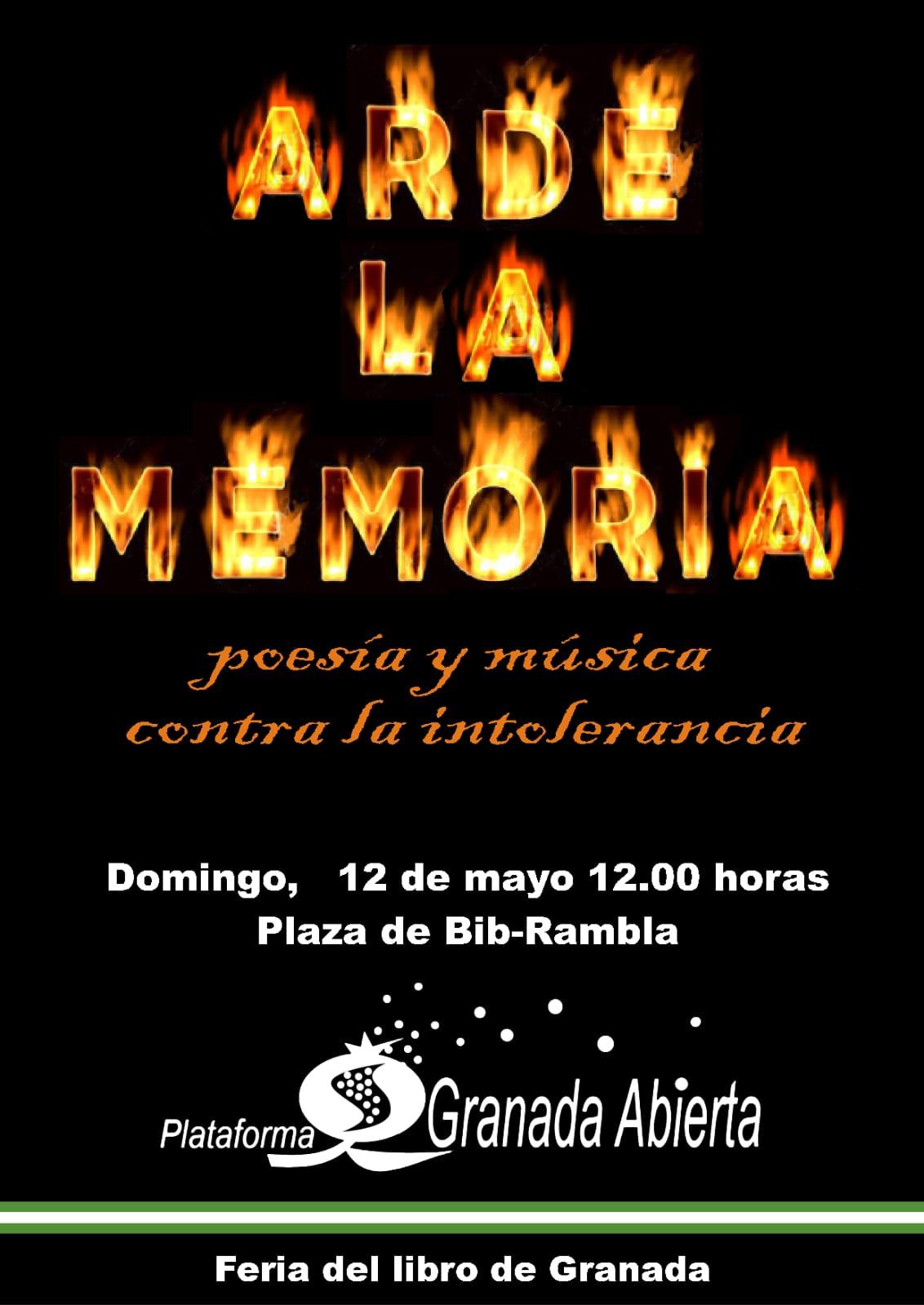 ARDE LA MEMORIA. Poesía y música contra la intolerancia. CRÓNICA DEL ACTO YA REALIZADO.