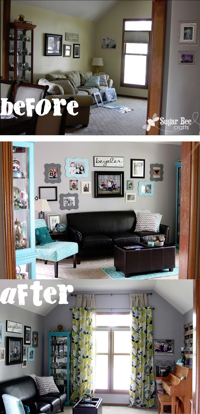 Living room reveal sugar bee crafts - Before and after the spectacular change of a s living room ...