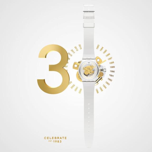 Swatch, 30 aniversario, Est.1983, White&Gold, reloj, suizo