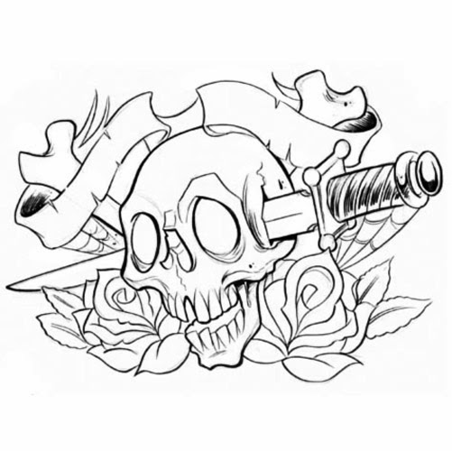 Skull roses and sword tattoo stencil