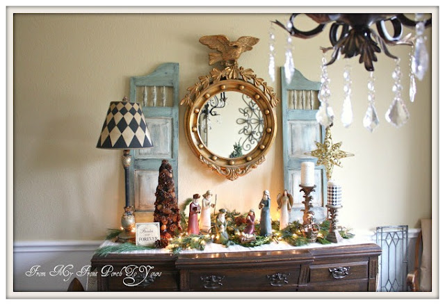 French Country- Federal Mirror-Christmas-Dining Room-Nativity-From My Front Porch To Yours