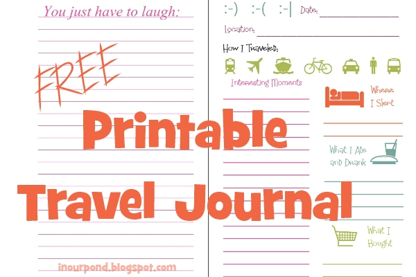 in our pond  printable travel journal