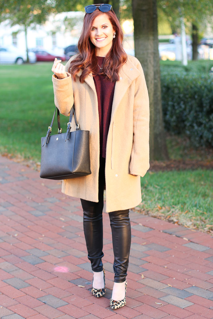 fall style, fall fashion, fall outfit idea, fall outfit inspiration, express coat, leather leggings, leopard heels, amanda sumner, girl(ish), the girlish blog, tory burch handbag, bueller sunglasses, fashion blogger, style blogger, fashion inspiration, spartanburg blogger, greenville fashion blogger, greenville blogger, upstate blogger