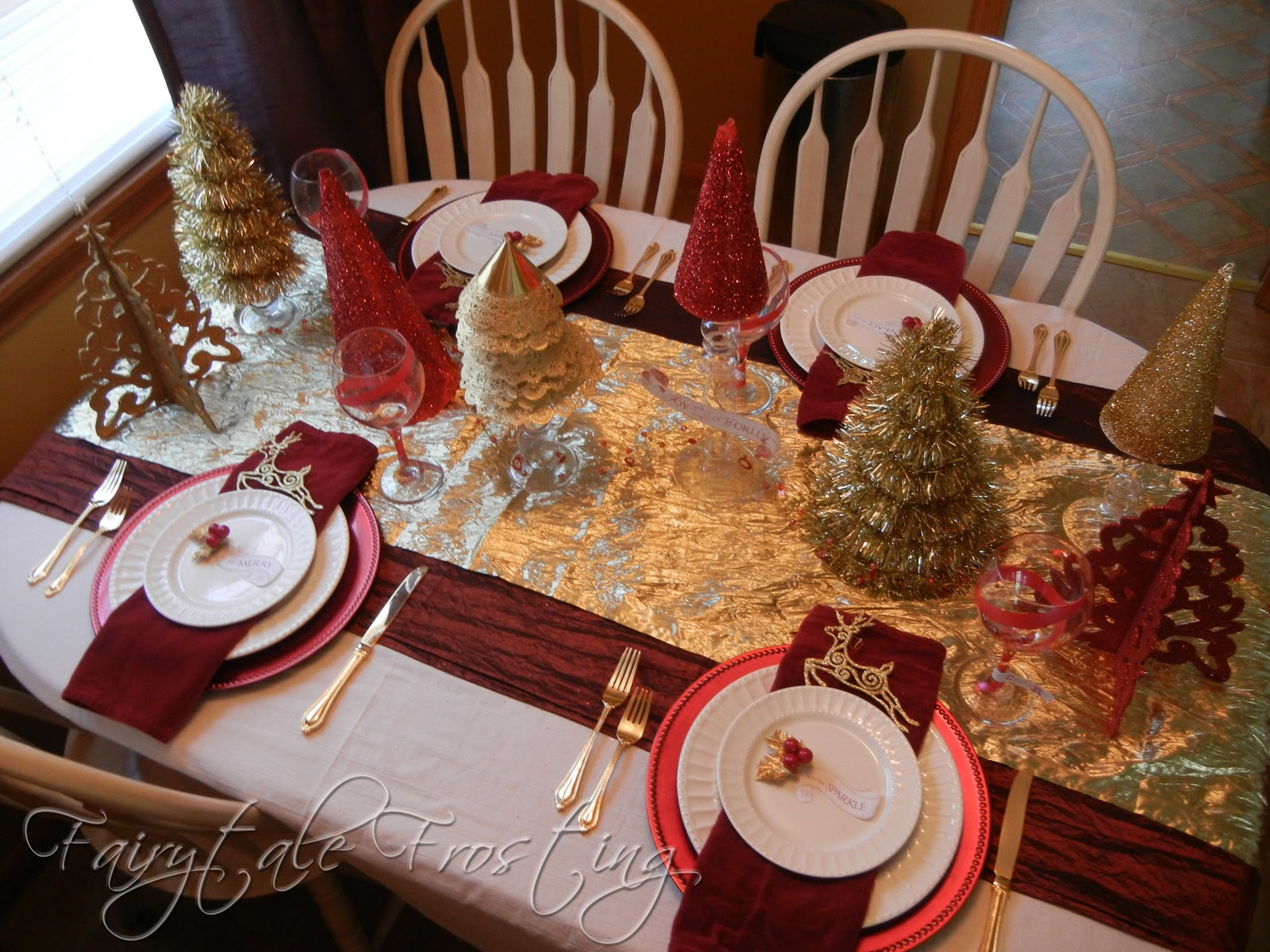 Fairytale frosting red white and gold holiday table